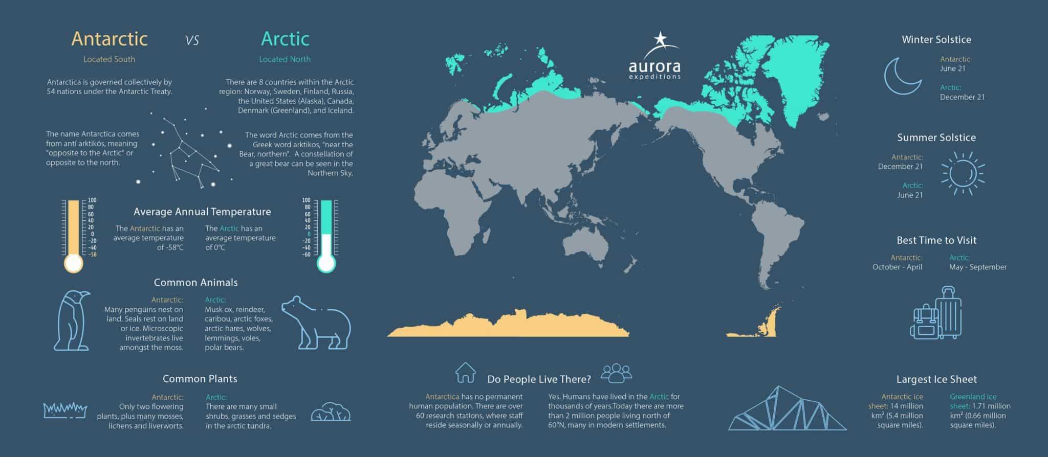 Arctic vs Antarctica Infographic