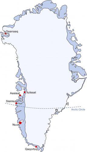 Greenland Arctic Circle map